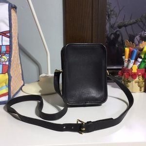 Vintage Coach black leather rectangular purse